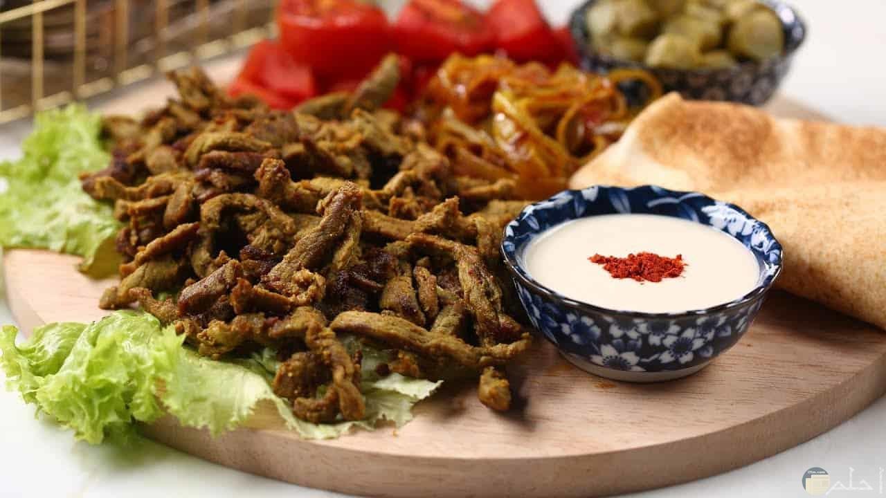 سلاطة شاورما اللحم