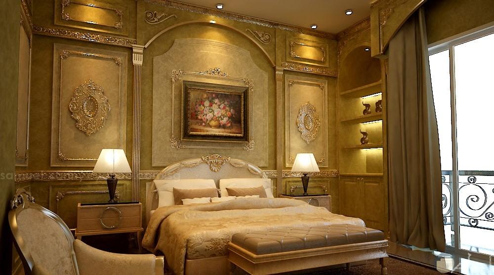 صورة غرفة نوم فخمة مذهبة