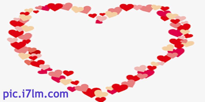 صور قلب مرسوم من ورق الورد وقلوب صغيرة
