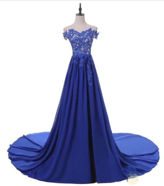 فستان سهرة أزرق جميل