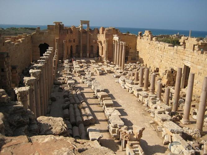 صور ترثية لبدة الليبية أقدم مدينة رومانية متكاملة