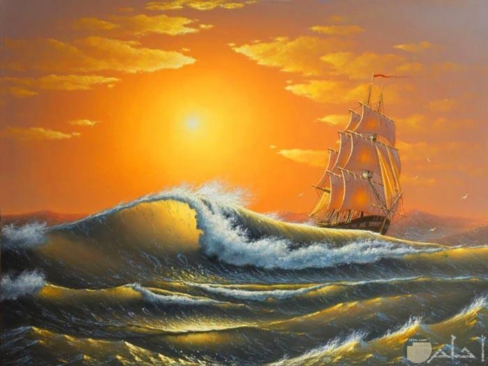 لوحة فنية رائعة للبحر