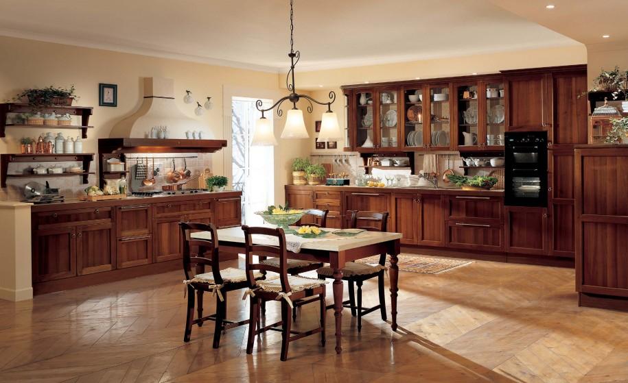 مطبخ كبير مع منضدة للطعام