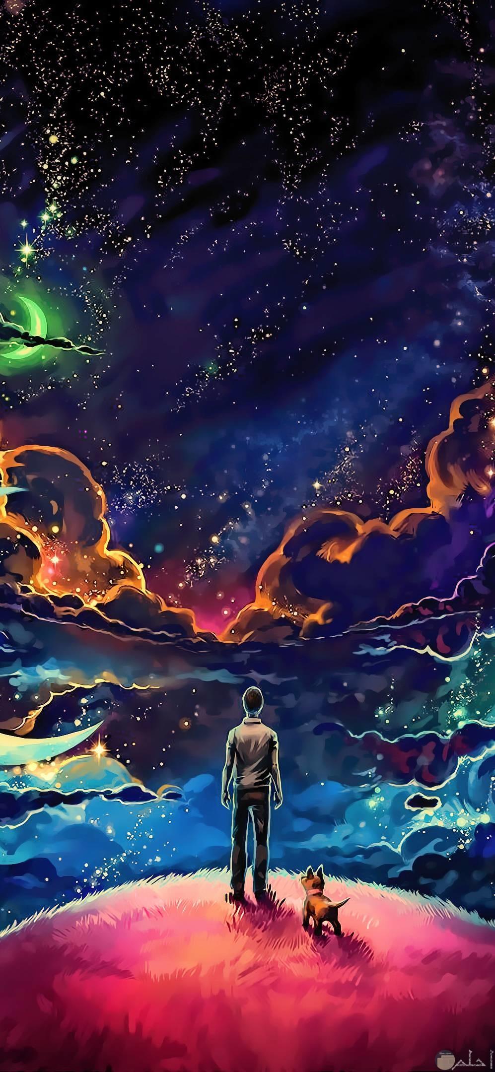 صور عميقة جميلة لشاب يقف يتأمل جمال الكون