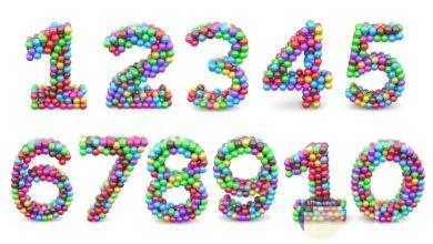 الأرقام الإنجليزية بألوان جميلة