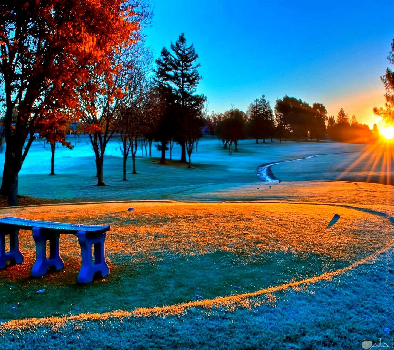 منظر يجنن لانعكاس اشعة الشمس علي الارض الخضراء