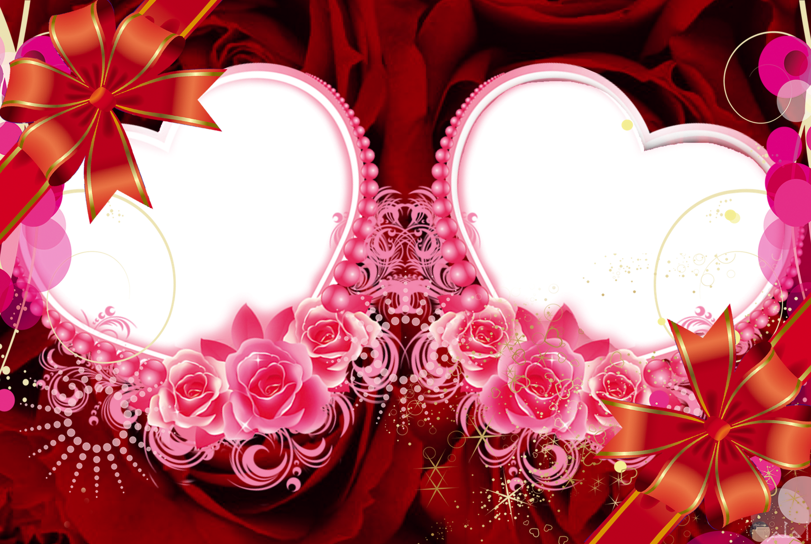 برواز قلوب وزهور