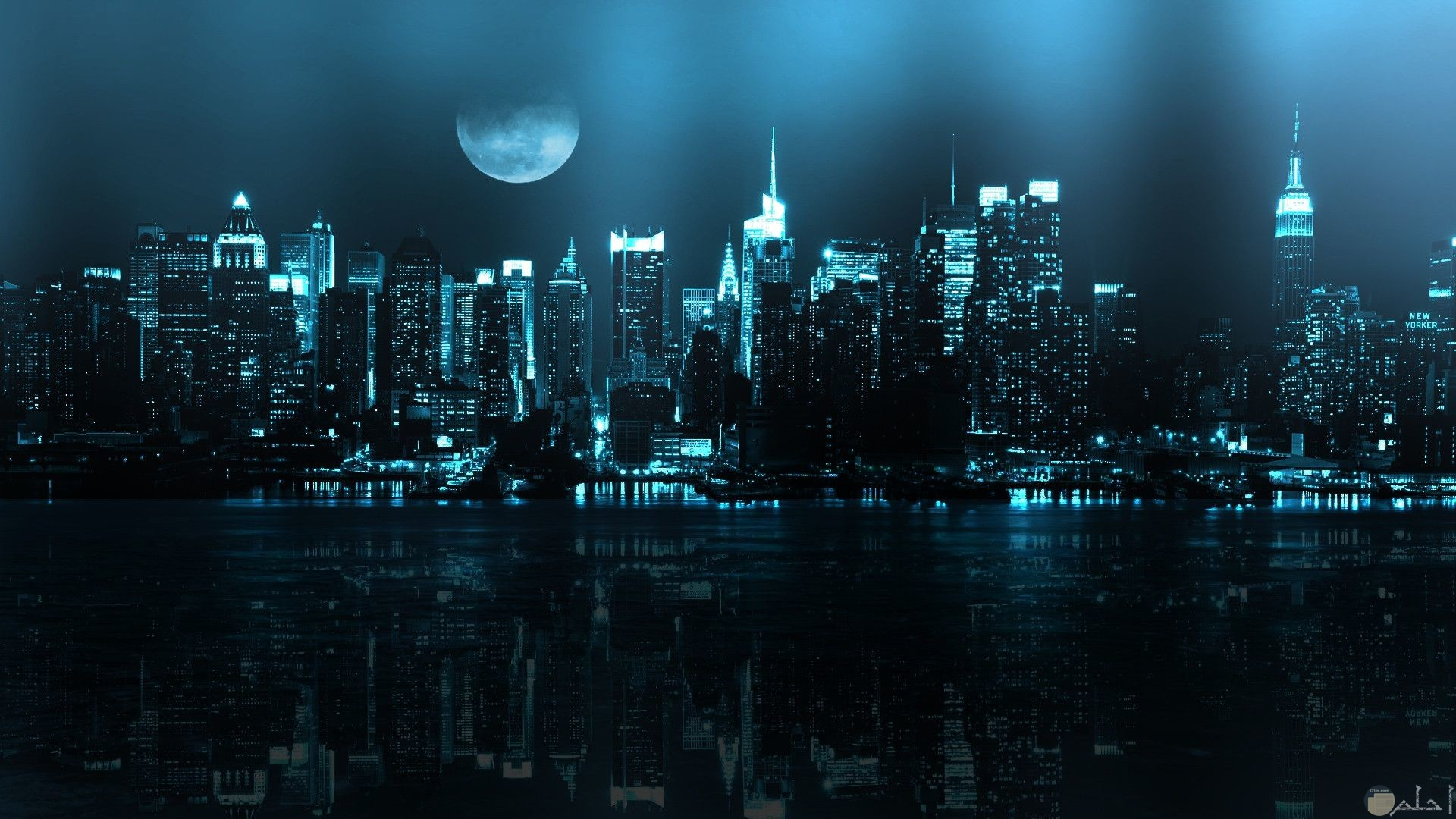 صورة خلفية كمبيوتر رائعة لشكل المدينة ليلا جميلة