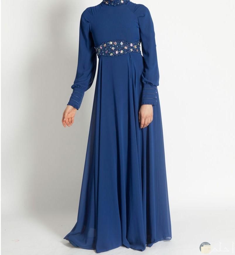 فستان محجبات رائع لونة ازرق