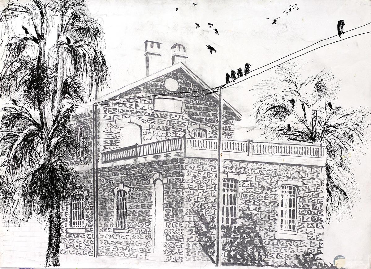 رسمة بالرصاص لبيت ذو بناء ممتاز وجميل الشكل