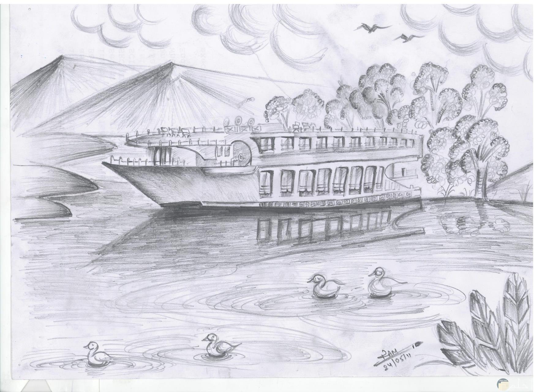 رسمة بالرصاص لمركب يتحرك في النهر