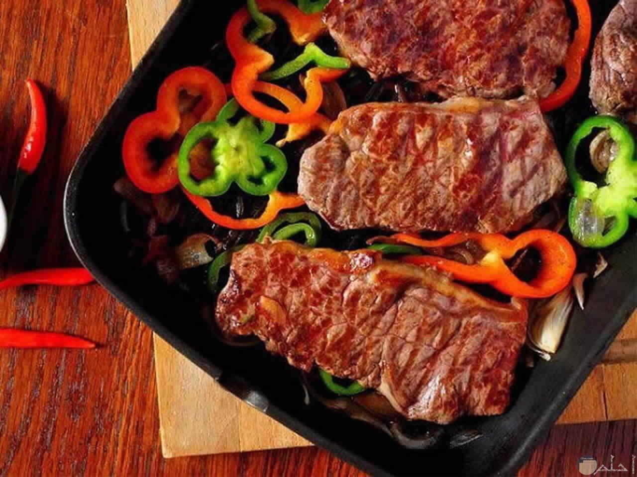 ستيك اللحم بالخضروات