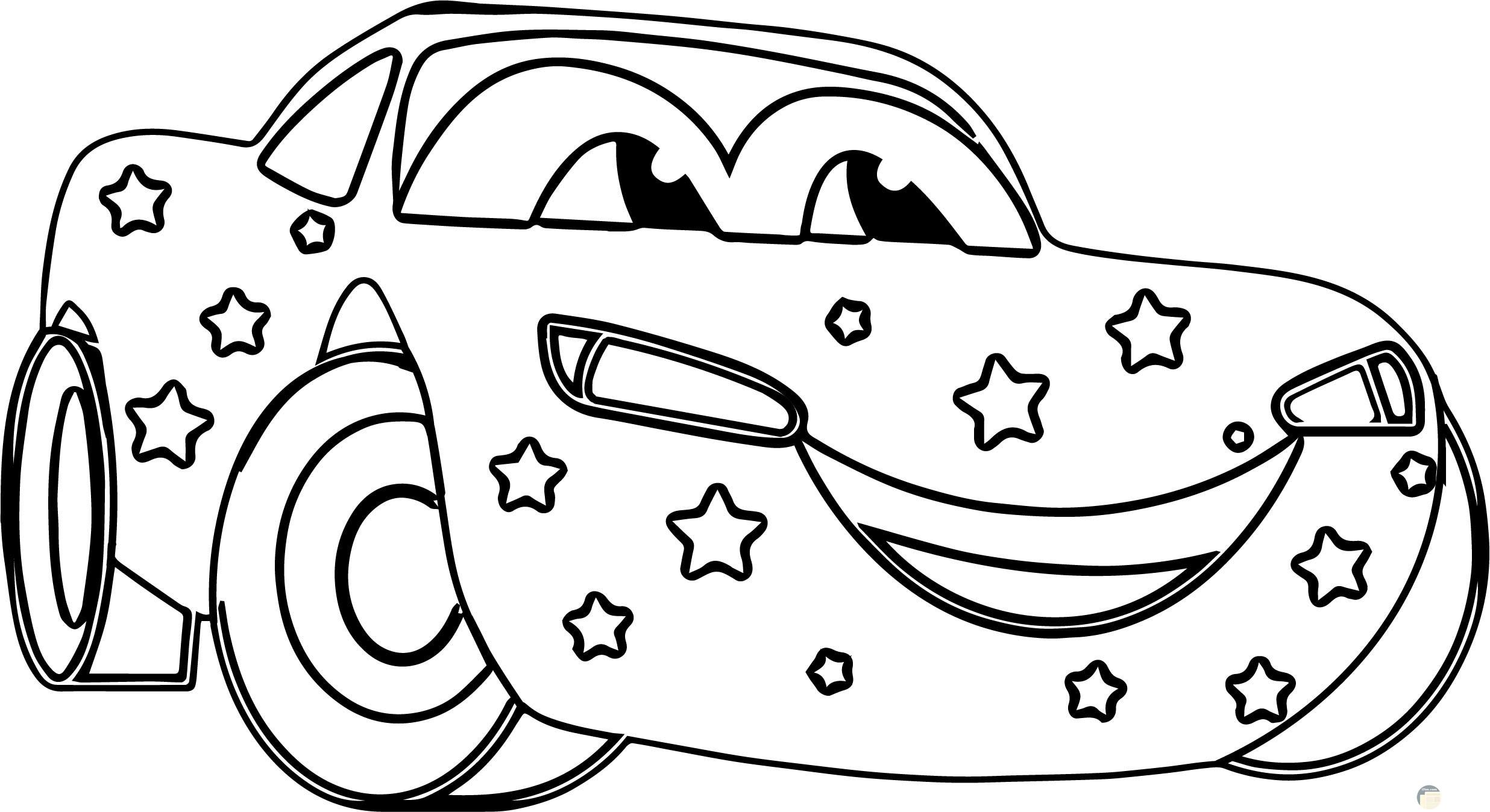 صورة سيارة سباق للتلوين للأطفال عليها نجوم
