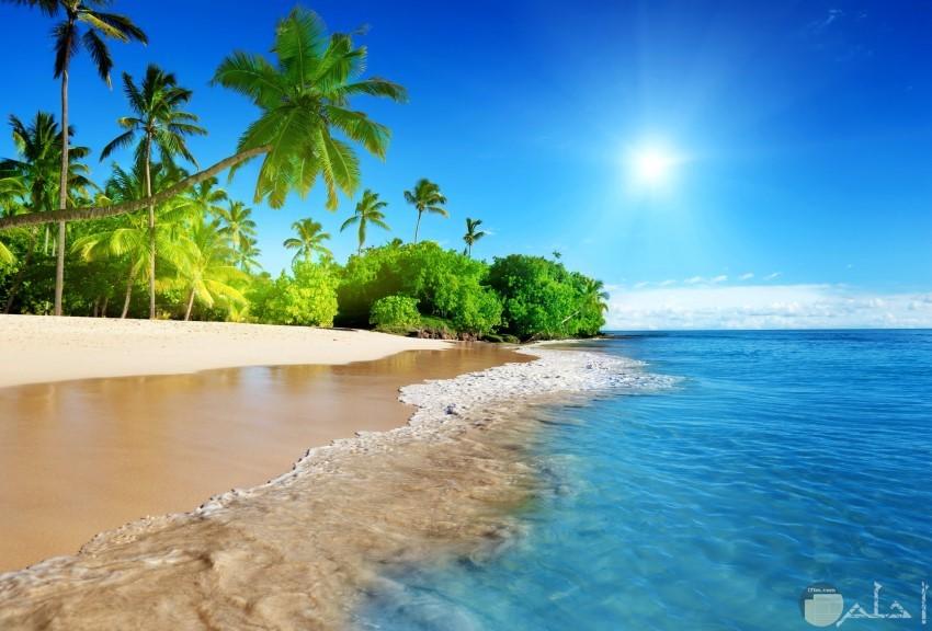 شروق الشمس مع البحر والرمال الناعمة
