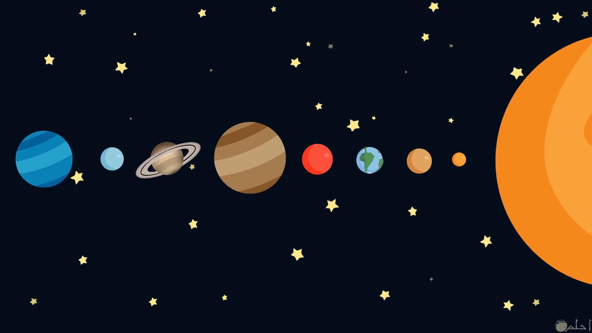 شكل كواكب المجموعة الشمسية بشكل كرتوني للأطفال