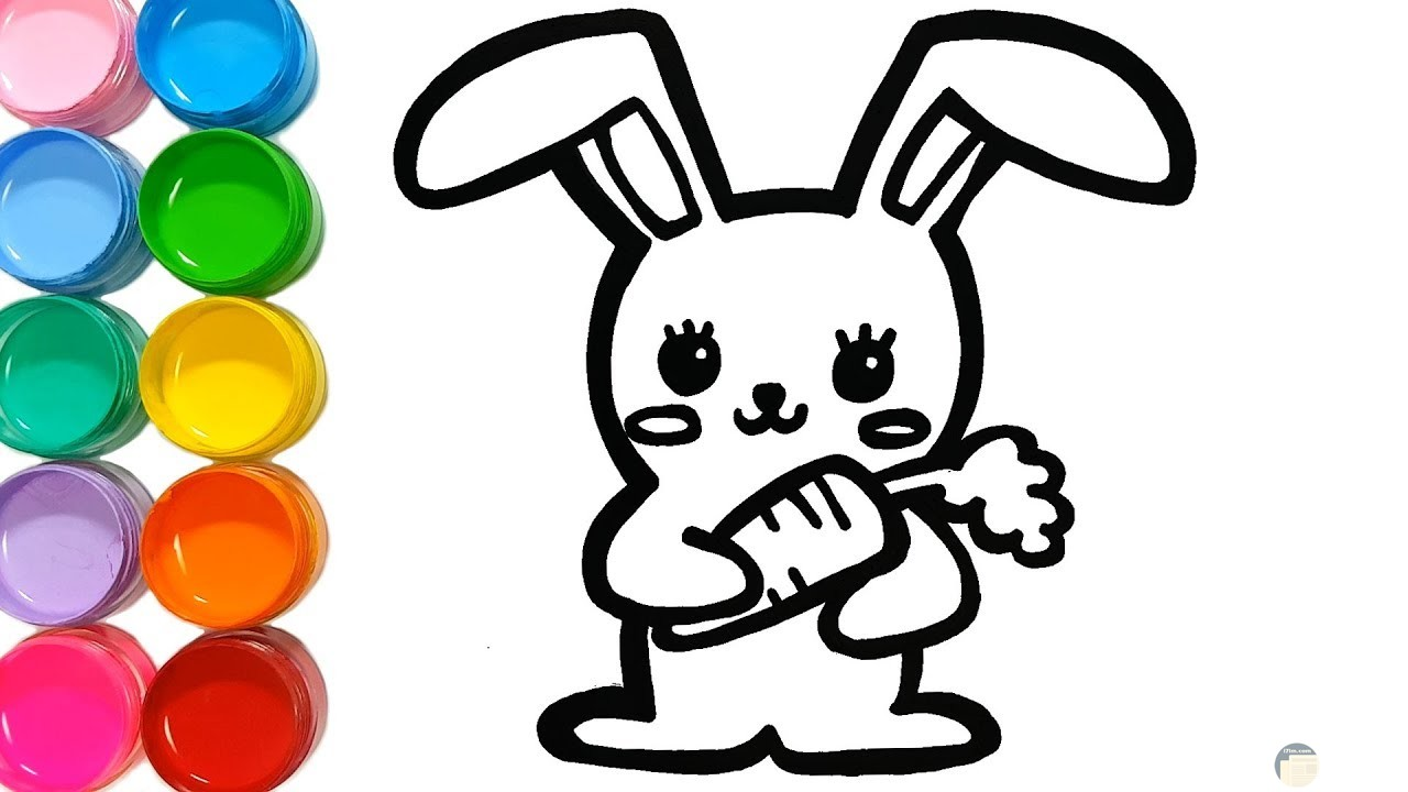 صورة جميلة لأرنب سعيد للتلوين للاطفال