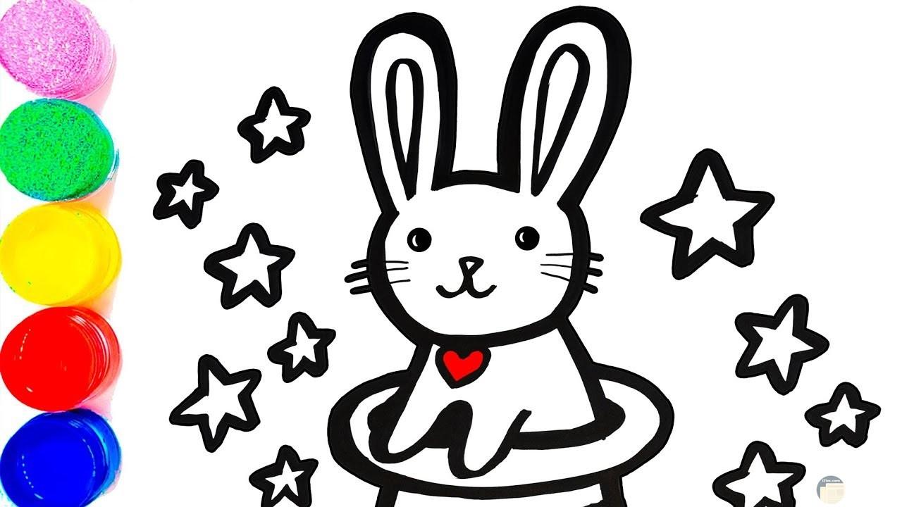 صورة جميلة لأرنب سعيد حوله نجوم للتلوين للأطفال