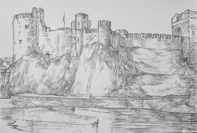صورة رسمة بالرصاص لقلعة عالية فوق الجبل
