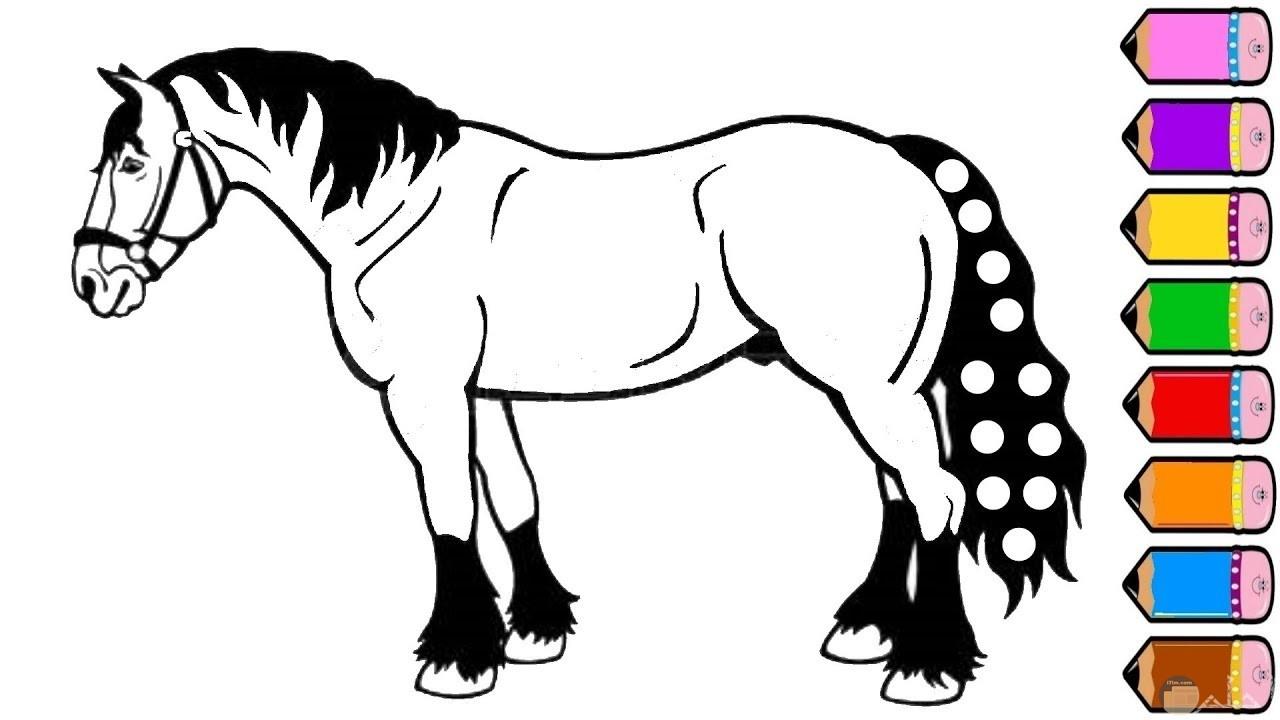 صورة مميزة لحصان حزين للتلوين للأطفال