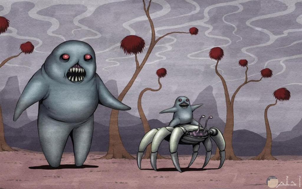 صورة غريبة كرتونية لوحوش والوحش الصغير يركب علي ظهر حيوان