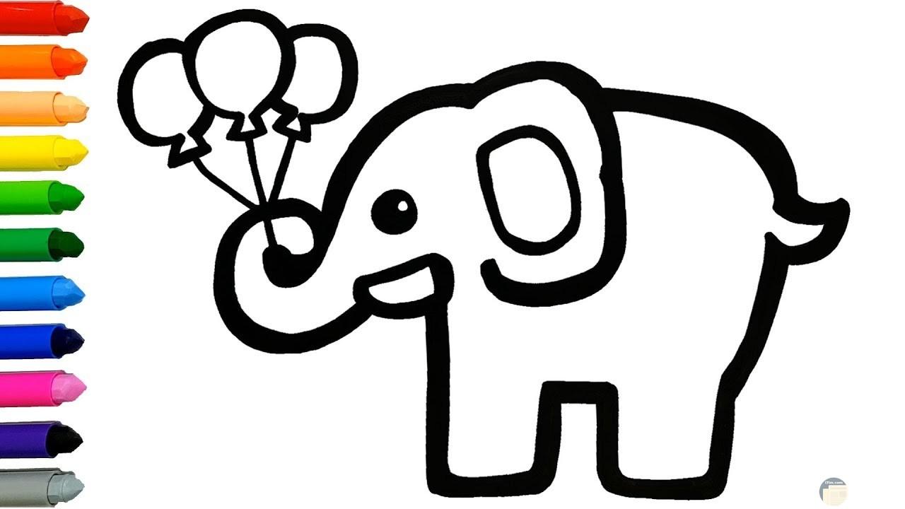 صورة مميزة لفيل يحمل بالون للرسم والتلوين للأطفال
