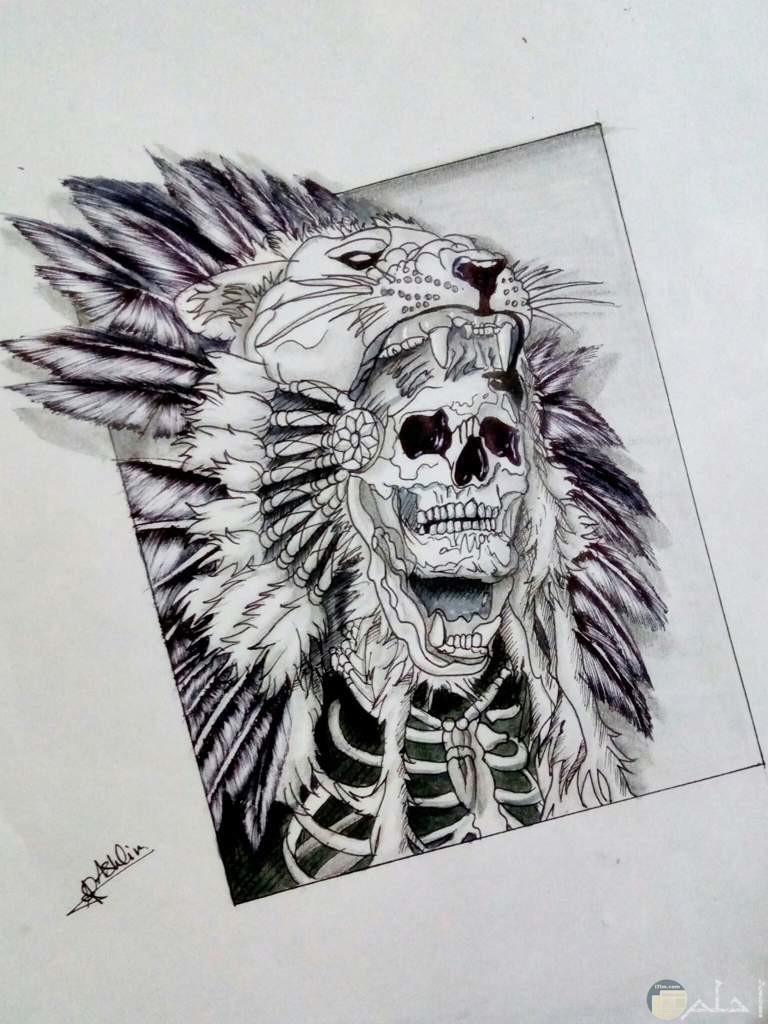 صورة رسمة بالقلم الرصاص جميلة لرجل يشبه الهنود الحمر