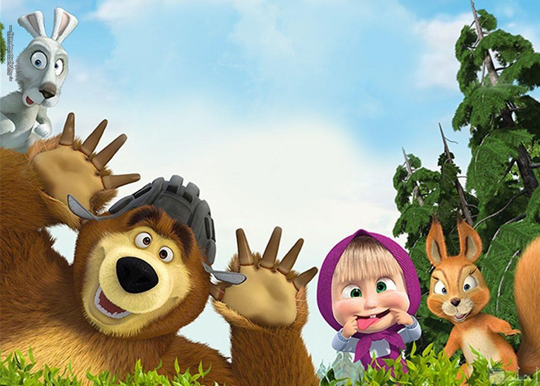 صورة مضحكة لماشا والدب وباقي الحيوانات في الغابة