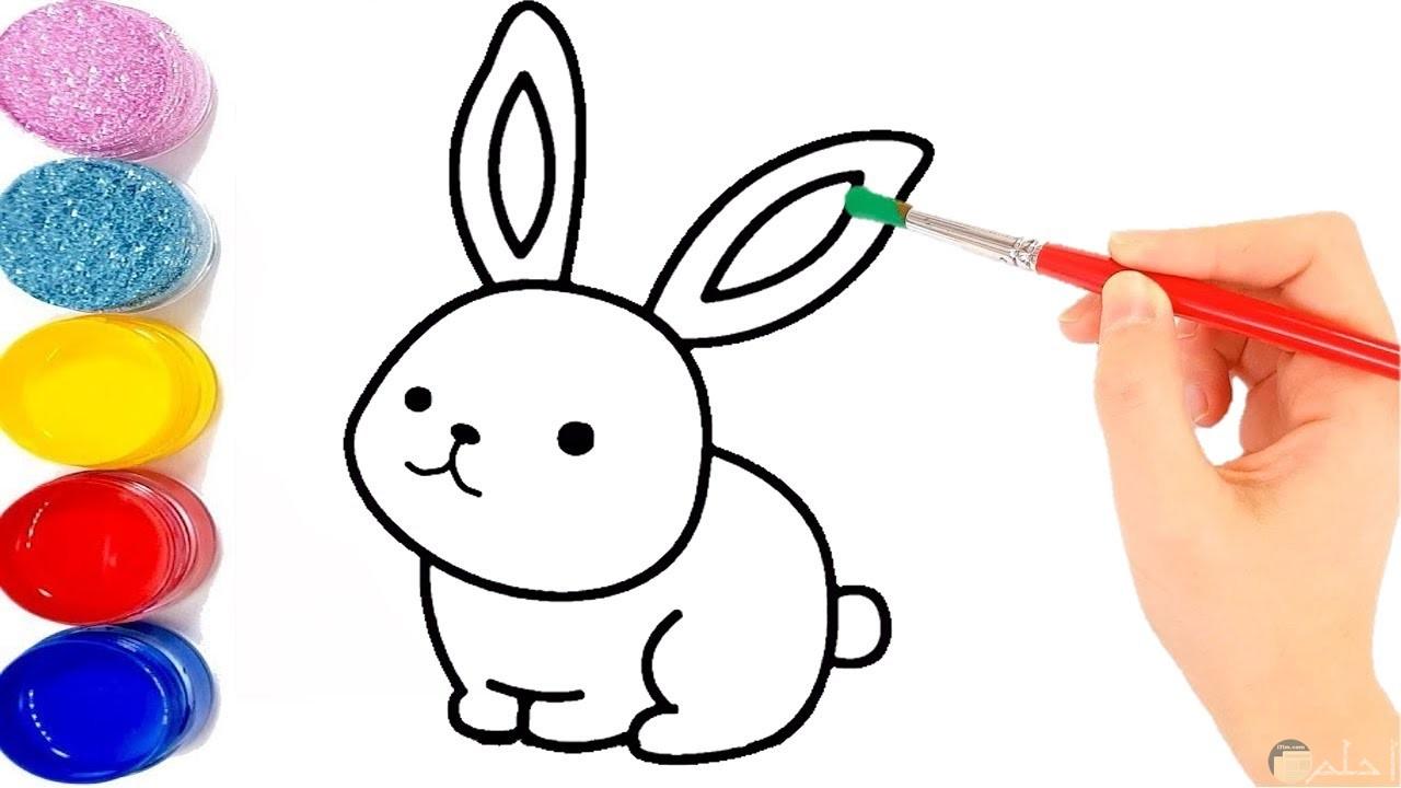 صورة مميزة وجميلة لأرنب صغير للرسم والتلوين للأطفال