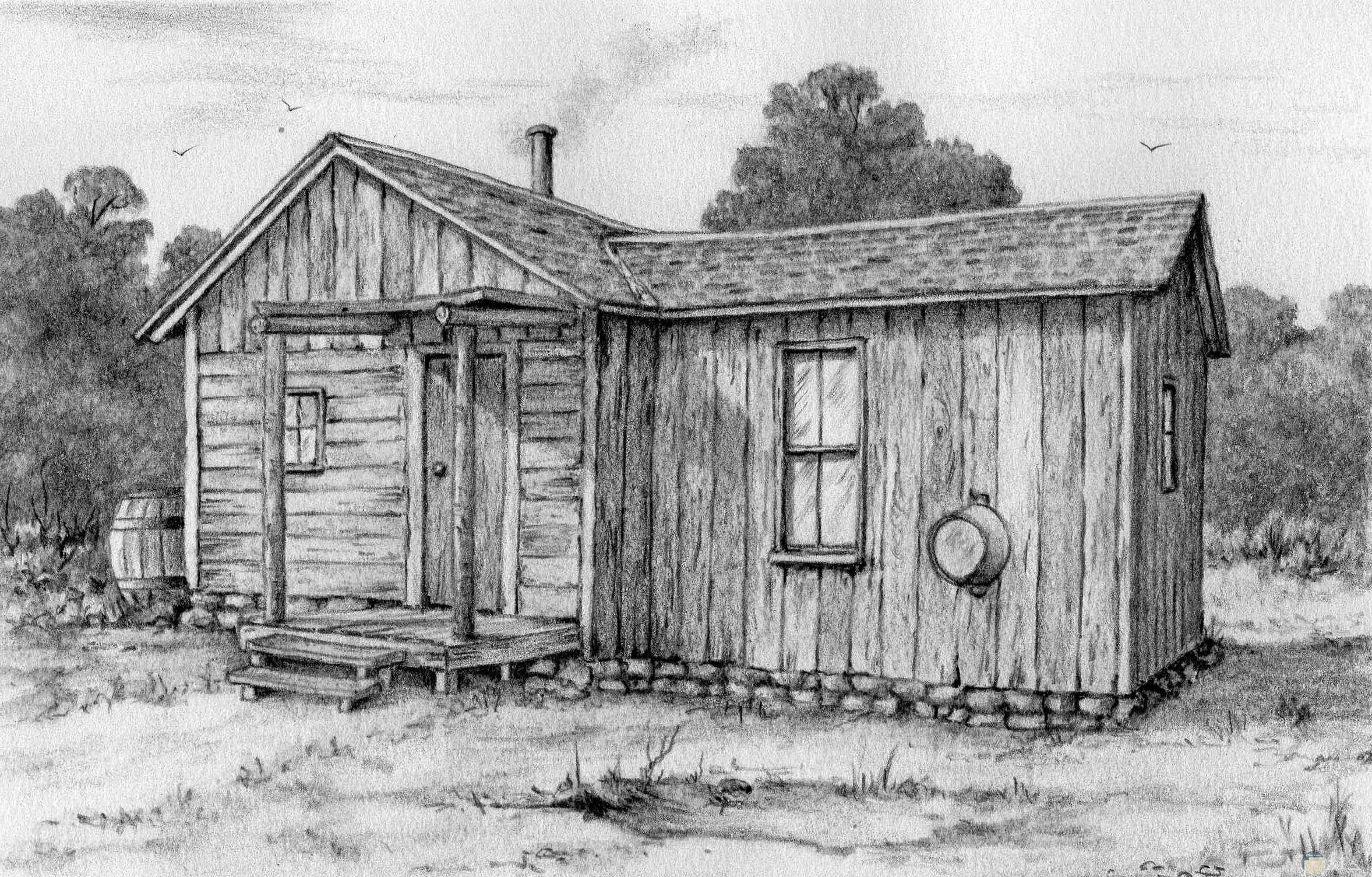 صورة رسمة جميلة بالرصاص لبيت خشبي قديم