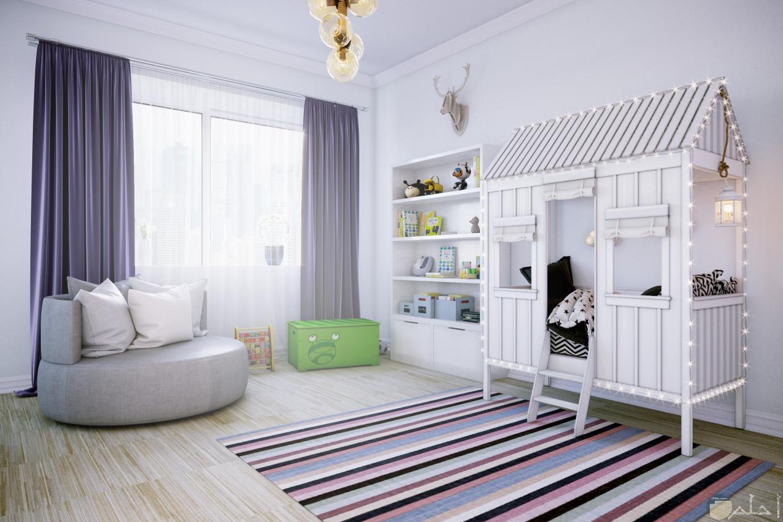 صورة لديكور غرفة أطفال باللون الأبيض