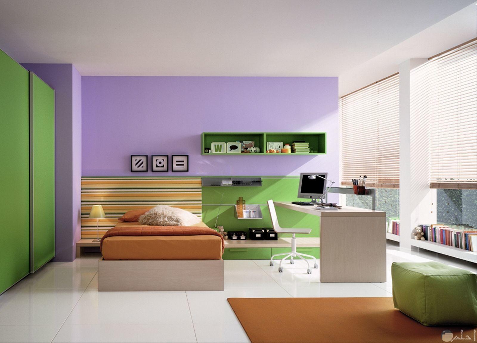 غرفة نوم جميلة وهادئة للأطفال مع تناسق الألوان فيها