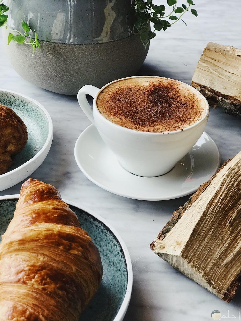 قطعة باتيه وكوب قهوه فطار رائع