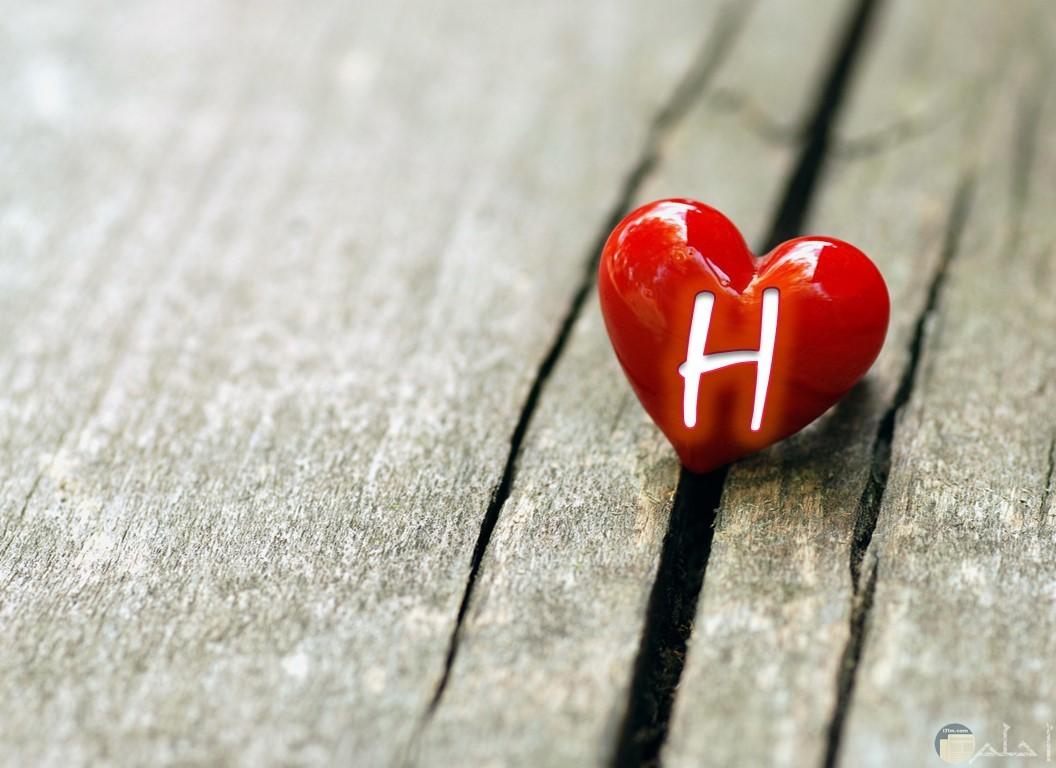 قلب أحمر يحمل حرف H