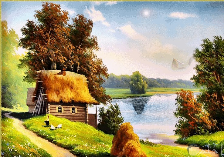 بحر واشجار ومنزل صورة تصلح لكتابة كافة العبارات عليها