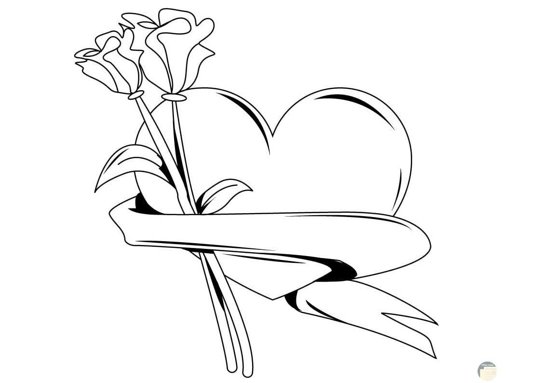 قلب ووردة حب