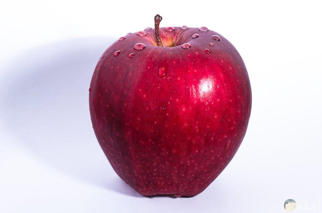 تفاحة حمراء عليها قطرات من الماء