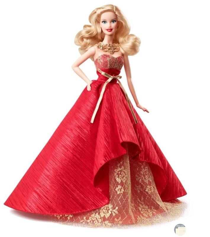 صوره للاميره باربي ترتدي فستان احمر كب وعقد