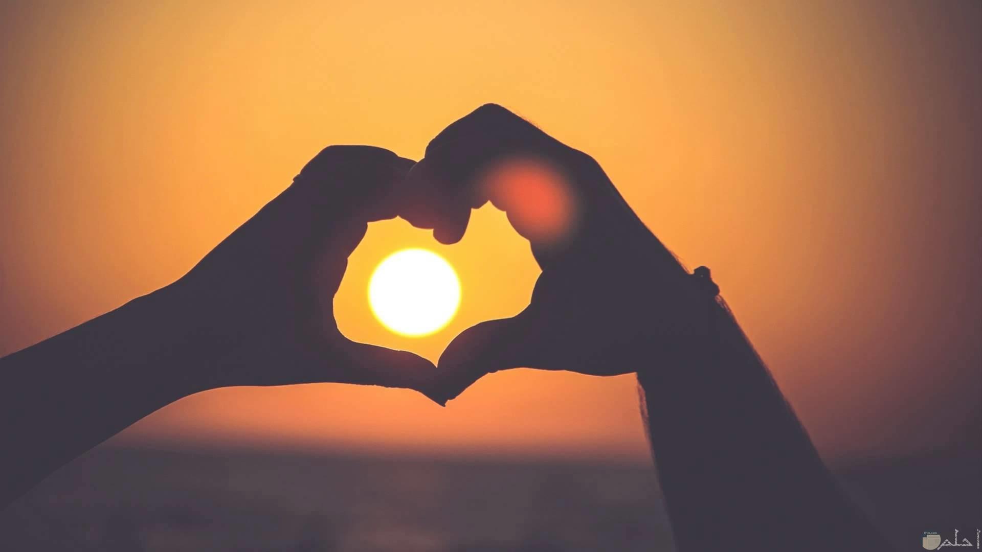 القلب مع غروب الشمس