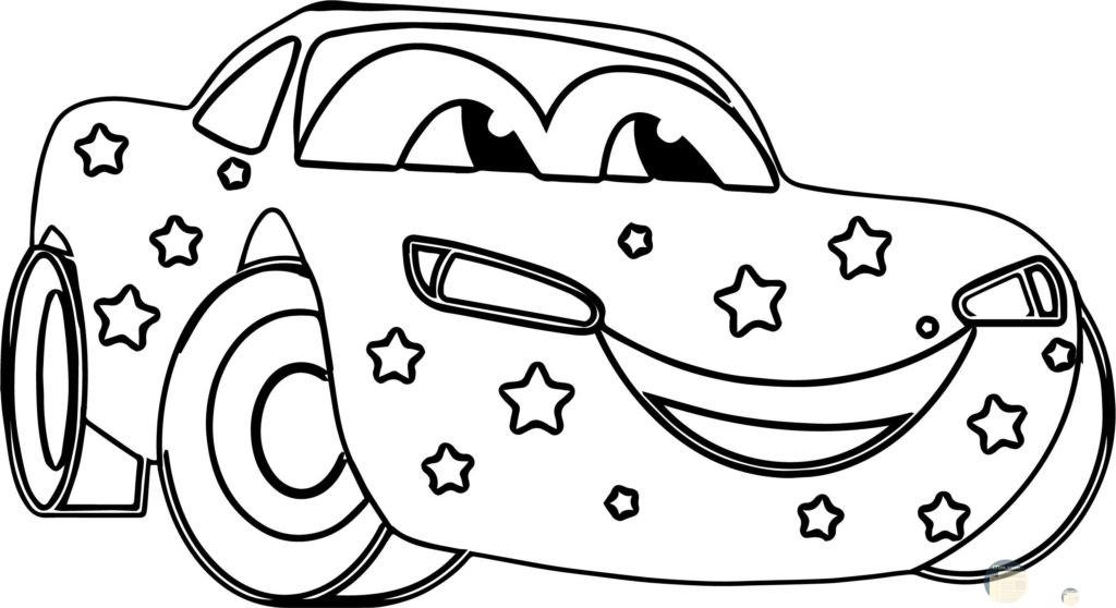 صورة سيارة للتلوين للأطفال عليها نجوم