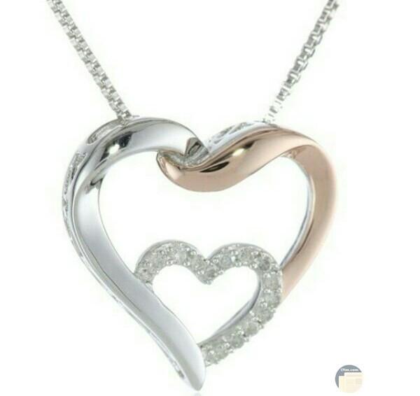 صورة إكسسوارات ألماس جميلة جدا عن سلسلة علي شكل قلب مزينه بالألماس الأبيض