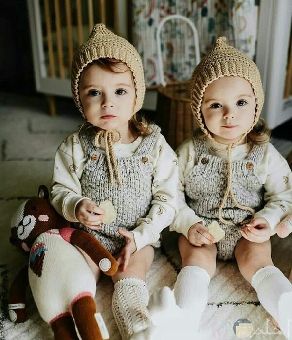 صورة جميلة جدا حول توائم بنات أطفال صغار مرتديين مثل الملابس وبجانبهم دمية دب