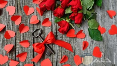 صورة جميلة جدا للورد الأحمر مع القلوب الحمراء في صورة واحدة