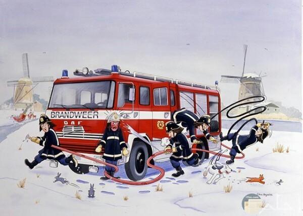 صورة جميلة لرسمة أحد الرسامين لرجال الإطفاء وسياراتهم وحيوانات في الثلج