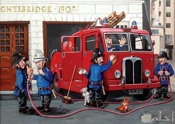 صورة جميلة لرسمة مميزة لأحد الرسامين لرجال الإطفاء وسيارتهم امام مبني ووجود قطة وكلب وفأر