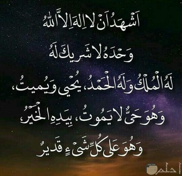 صورة دينية جميلة جدا حول شهادة أن لا إله إلا الله وأنه الحي الذي لا يموت وبيده الخير كله ولا شريك له