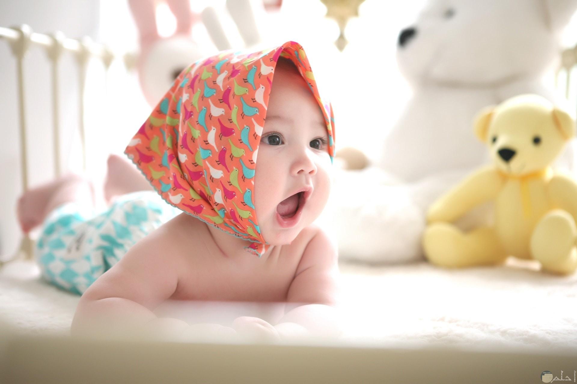 صورة رومانسية لطفل صغير بتعبير وجهه المصدوم مع مجموعة دببة لعب