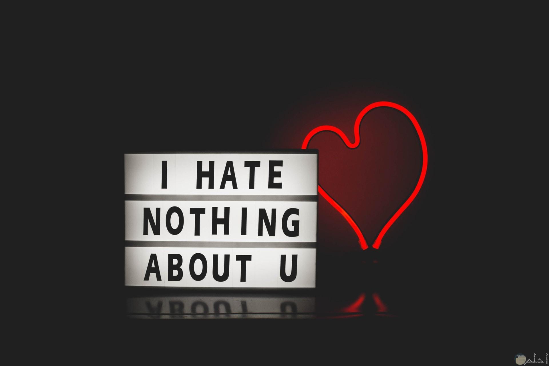 صورة قلب أحمر جميل مع كلمات أنا لا أكره شيئا بك بالإنجليزي حلوة جدا
