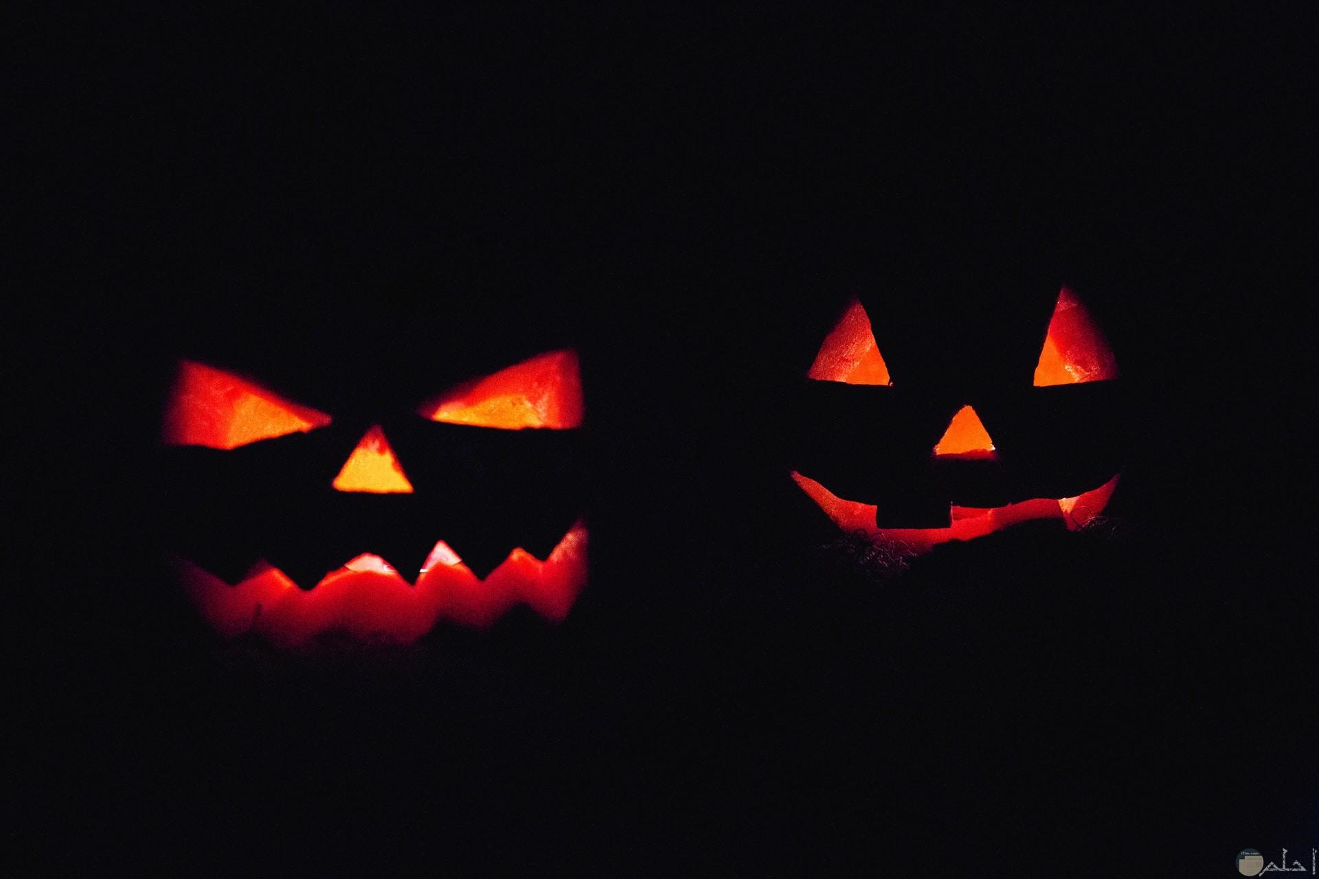 صورة مخيفة لوجوه مضيئة في الظلام مرعبة جدا