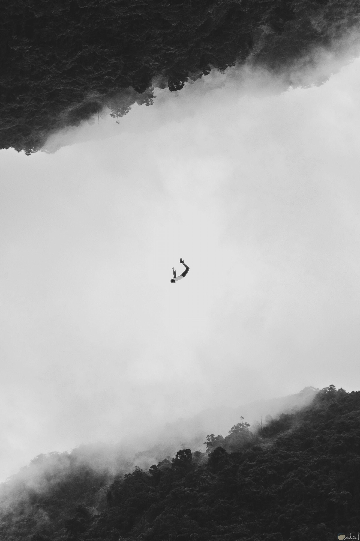 صورة مميزة بالأبيض والأسود لغابة وإنعكاسها أعلي الصورة ورجل معلق في الهواء