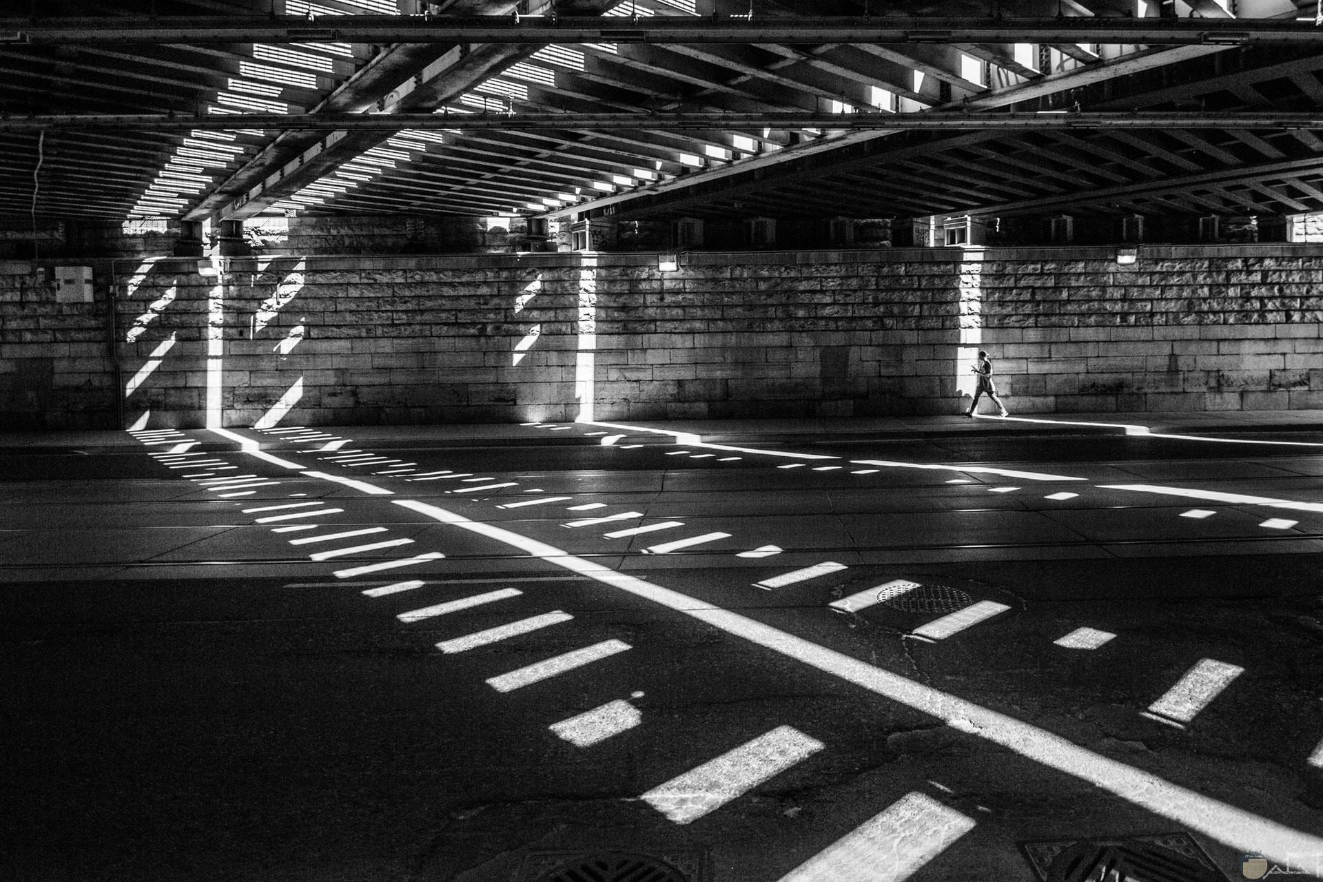 صورة مميزة بالأبيض والأسود لمبني وخطوط للمشي مرسومة علي الطريق
